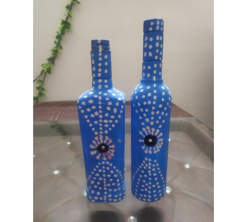 painted glass bottles wrapped in Jute
