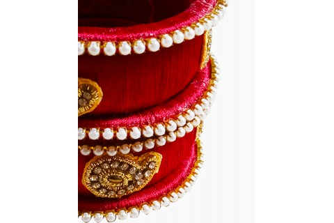 Handmade silk thread bangles - Red color