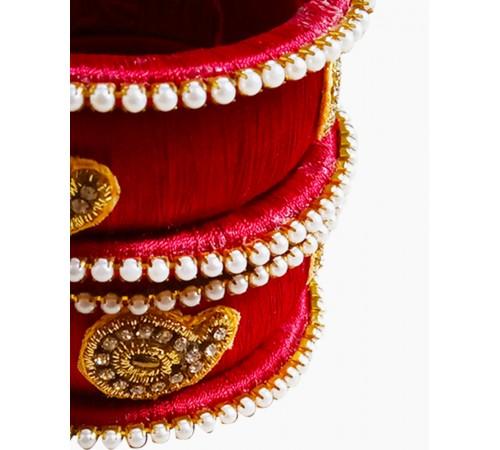 Handmade silk thread bangles - Red color