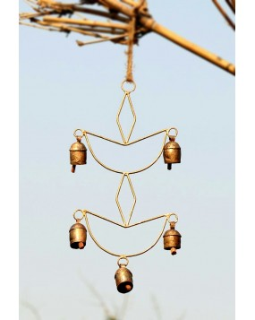 Diya Shaped Sun Wall Hanging with 5 Copper Bells