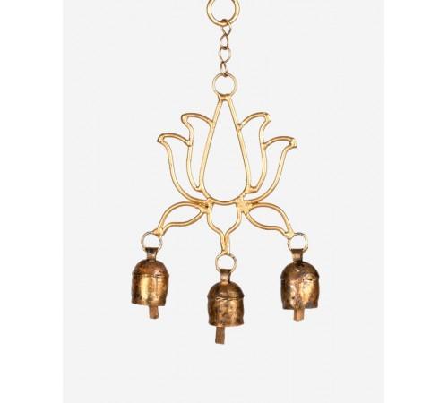 Lotus shape sun Hanging with 3 Bells