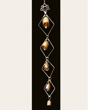 Wall Hanging with 5 Bells Diamonds shaped
