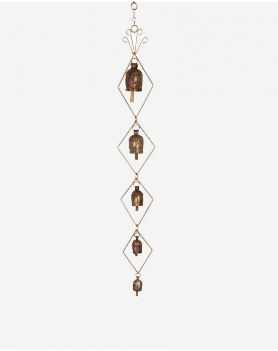 Wall Hanging with 5 Bells Diamonds shaped 4 x 32 inch