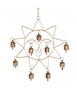 Sun shaped Wall Hanging with 5 Bells 10 inch