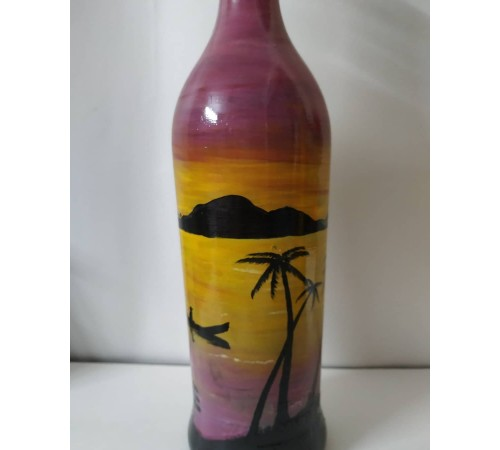 Hand painted sunset Painting on bottle