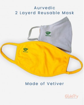 Vetiver Mask (Ayurvedic) with Cotton Fabrics Pack of 2